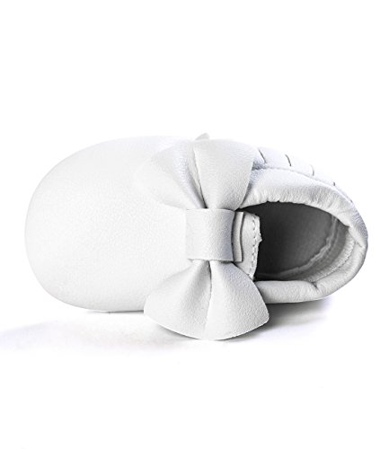 DESDEMONA Bow PU Leather Baby Boy Girl Infant Toddler Pre-walker Crib Shoes (M(5.3inches), White)