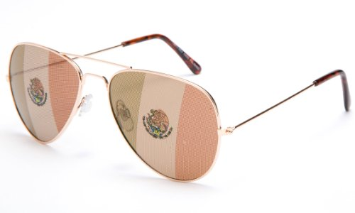 Kyra World Cup 2014 Mexico United States Flag Patriotic Olympic Soccer Aviator Style Sunglasses