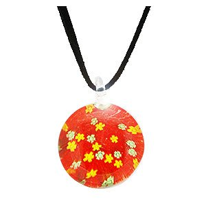 Kooqi Handmade Millefiori Red Flower Pendant Necklace on a Cord. Beautifully presented in a Kooqi gift box and red organza bag.