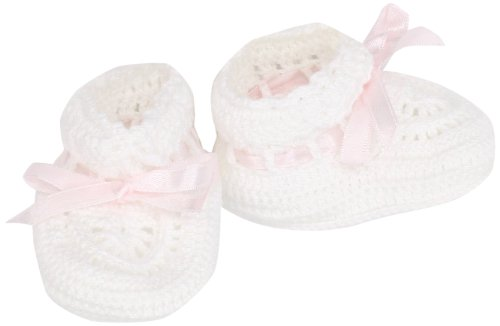 Country Kids Unisex-Baby Infant Hand Crochet Bootie, White/Pink, 0-6 Months