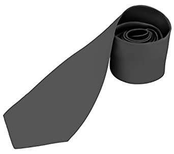 BRAND NEW Mens Necktie SOLID Satin Neck Tie Charcoal Gray 90