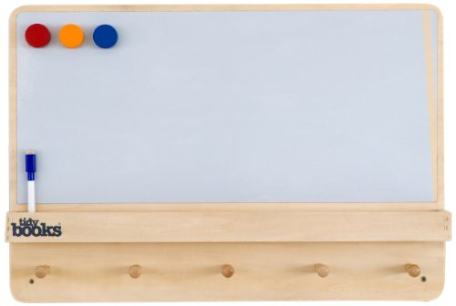 Tidy Books - The Children's Bookcase Company - The Original Wooden Kids Magnetic Notice board with Coat Rack and Shelf in Natural