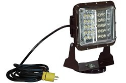 Magnetic Mount 60 Watt Low Profile Led Flood Light - Glare Shield - 20' Cord - 120-277V Ac(-Straight