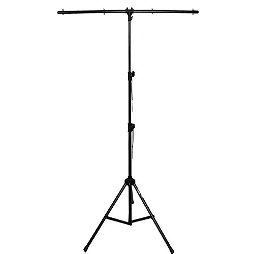 DJ Lighting Stand T-Bar - Tripod, 1 Side Bar, Collapsible, Lightweight & Sturdy, 9 FT - Ideal for Mobile DJs, Live Bands & Stage Design - By GMI Pro