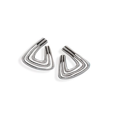 Oxidized Tri Shape Fashion Post Earrings