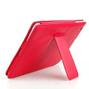 Fosmon Faux Leather Carrying Case with Stand for the the New Apple iPad 3 & 4 (3rd Gen and 4th Generations) - Red