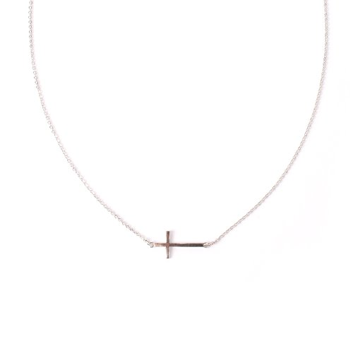 Small Sideways Cross Necklace, Small Size, Silver Tone front-177435