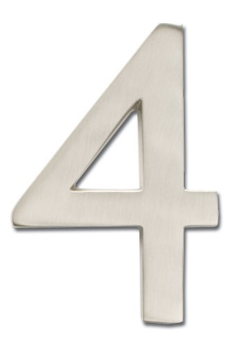 Architectural Mailboxes 3582SN-4 Brass 4-Inch Floating House Number, Satin Nickel 4 Color: silver Size: 4, Model: 3582SN-4