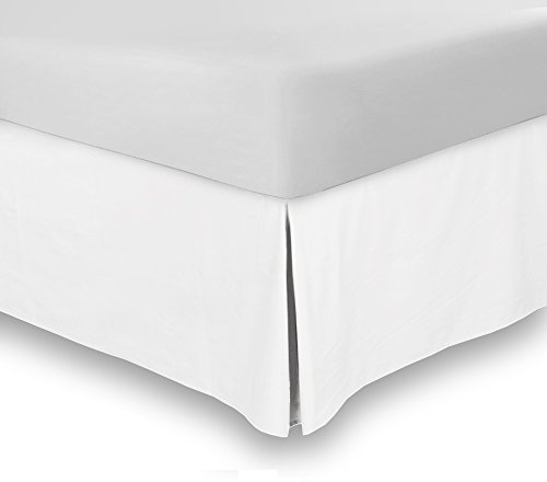 Cheap Bed Skirt (King, White, 15 fall) - Hotel Quality, Iron Easy, 4 Sided Pleating, Wrinkle & Fade...