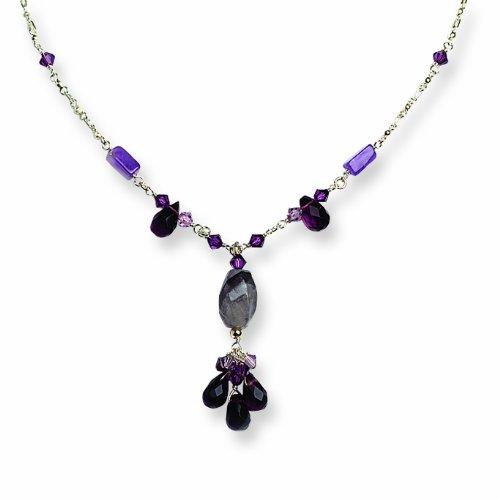 Sterling Silver Amethyst/Prehnite/Lavender & Green Quartz Necklace