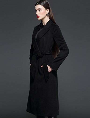 Maxchic Women's Long Wool Wrap Coat with Belt D13672Y14M,Black,Large