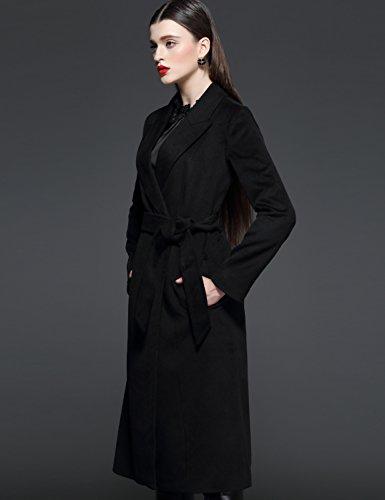 Maxchic Women's Long Wool Wrap Coat with Belt D13672Y14M,Black,Large