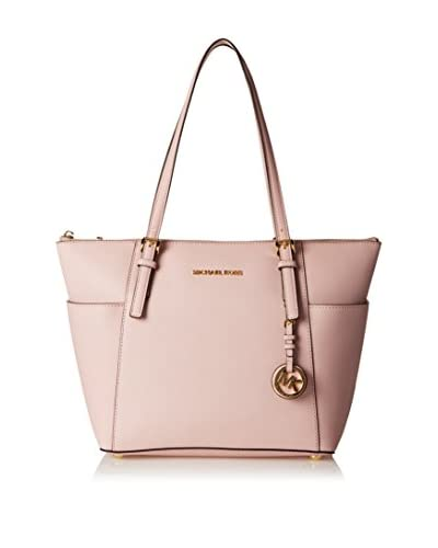 Michael Kors Women's Jet Set Item Top-Zip Saffiano Leather Tote, Blossom