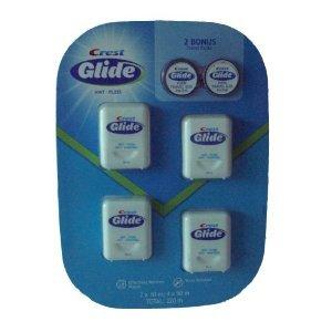 Crest Glide Mint Floss (4 Pack) Plus 2 x Travel Floss