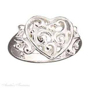 Sterling Silver Filigree Scrolled Heart Ring Size 9