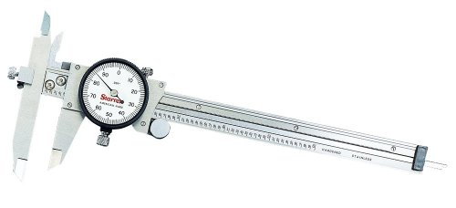 Starrett 120JZ-6 Dial Caliper, Stainless Steel, Offset Jaw, White Face, 0-6