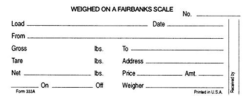 Truck Scale Weigh Tickets Carbon for Fairbanks Mechanical Truck Scales 500 Pack (Scale Tickets compare prices)