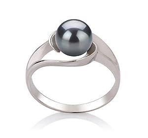 PearlsOnly Wenke Schwarz 6-7mm AAA Süßwasser Platin 750 Perle Ring Size 57 (18.1)
