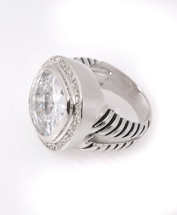 Cubic Round Pave Fashion Ring, Size 7