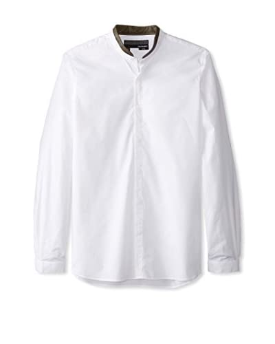 The Kooples Men's Poplin Long Sleeve Shirt with Leather Trim