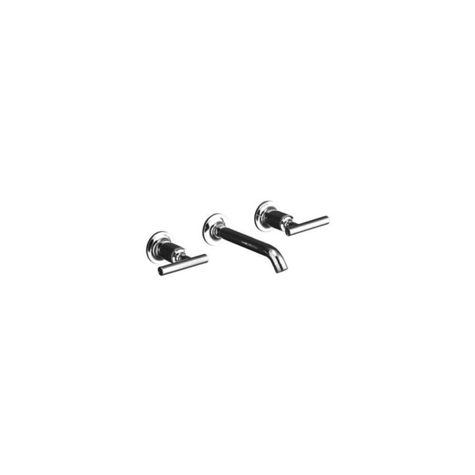 Kohler Purist Polished Chrome Wall Mount Bathroom Sink Faucet, 8 1/4 Spout+Cylinder Lever Handles