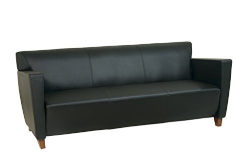 Admirable Affordable Osp Furniture Black Eco Leather Sofa With Cherry Beatyapartments Chair Design Images Beatyapartmentscom
