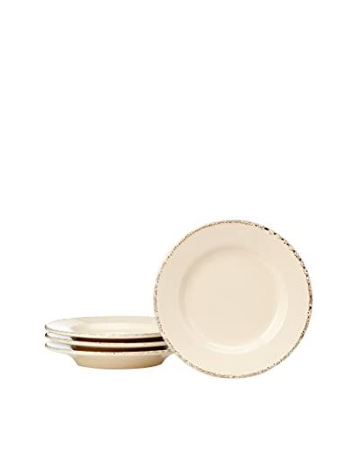 COLI Bakeware Set of 4 Italian Stoneware Classic Bellitalia 7.5 Plates, Vanilla
