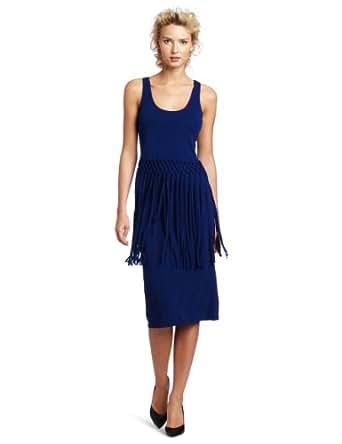 Cluny Women's Fringed Midi Dress, Midnight, X-Small