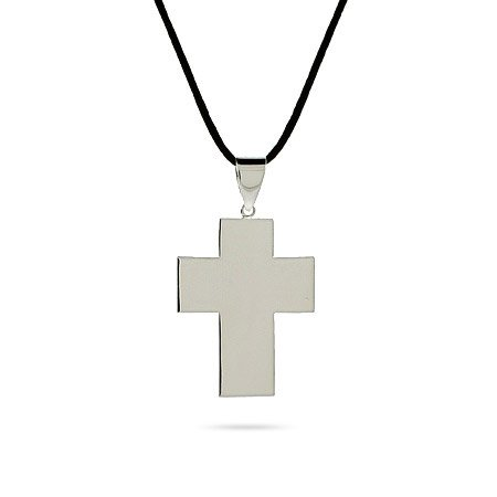 Smooth Sterling Silver Cross Pendant Length 24 inches (Lengths 16 inches 20 inches 24 inches Available)
