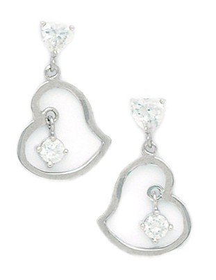 14ct White Gold CZ Big Heart Drop Fancy Post Earrings - Measures 20x12mm