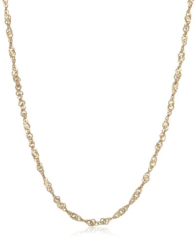 Duragold 14k Gold Solid Singapore Chain Necklace (1.35mm)