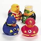 One Dozen (12) Super Hero Rubber Ducky Party Favors