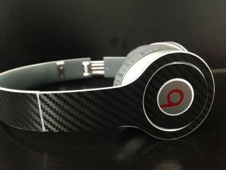 Black Carbon Fiber Skin For Beats By Dre Solo (Headphones Not Included)