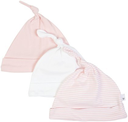 Burt'S Bees Baby Baby Girls' 3 Pack Essentials Knot Top Hats - Blossom - 12 Months front-1028479