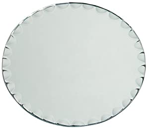 Darice 1633-65 Round Glass Mirror with Scallop Edge, 8-Inch