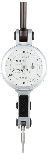 "Brown & Sharpe Tesa 74.111374 Interapid 312 Dial Test Indicator, Horizontal Type, M1.7X4 Thread, 0.157"" Stem Dia., White Dial, 0-15-0 Reading, 1.2"" Dial Dia., 0-0.06"" Range, 0.001"" Graduation, +/-0.01Mm Accuracy back-593096"