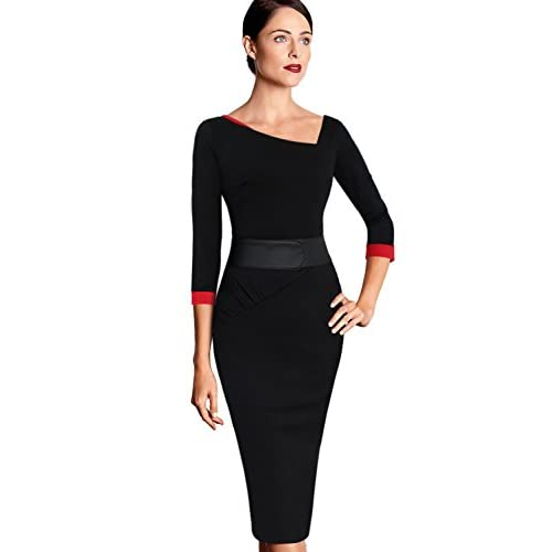 VfEmage Womens Asymmetric Neck Ruched Vintage Tunic Work Party Casual Dress