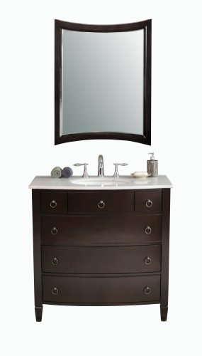 Virtu USA LS-1041WM Venice 36-Inch Single Sink Bathroom Vanity with Matching Mirror, White Ceramic Basin, Espresso Finish with White Marble Countertop