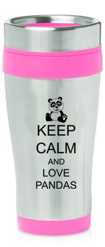 Hot Pink 16Oz Insulated Stainless Steel Travel Mug Z1246 Keep Calm And Love Pandas