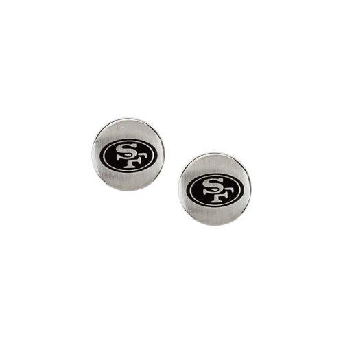 24680 St Steel Pair 10mm San Francisco 49Ers Logo Stud Earrings Football NFL Men Team