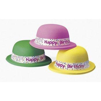 """Neon """"Happy Birthday"""" Derby Hats (1 Dozen) - Bulk"""