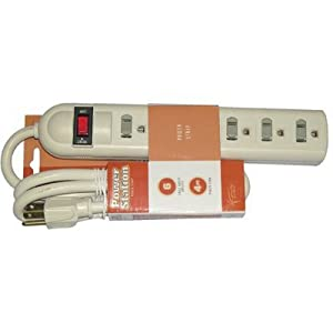 Coleman Cable 04622 6-Outlet Safety Power Strip with 4-Feet Cord