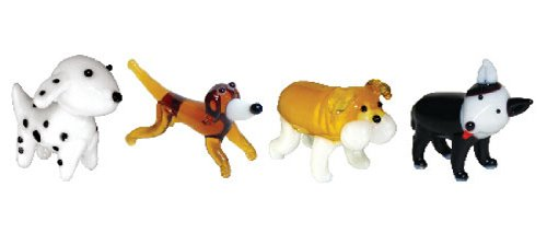 Looking Glass Miniature Collectible - Dalmatian/Dachshund/Bulldog/Pit Bull (4-Pack)