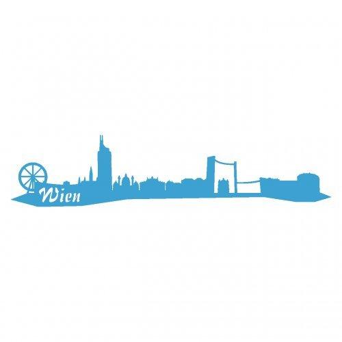 Wandtattoo Wien Skyline Wandaufkleber viele Farben und Größen sofort lieferbar in 8 Größen und 25 Farben (30x6,7cm lichtblau)