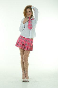 Naughty Schoolgirl Pink Ladies Fancy Dress Costume Medium