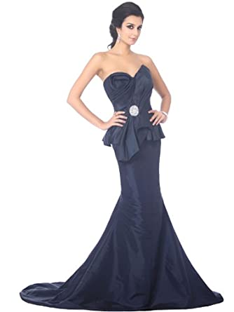 Landybridal Trumpet Mermaid Taffeta Evening Dress F22427 2 Blue