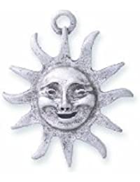 Shipwreck Beads Pewter Sun Pendant With Face, Metallic, Silver, 26mm, 3-Piece