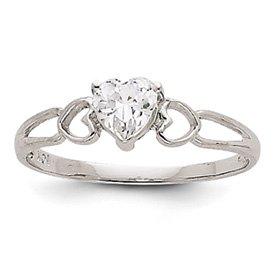 Genuine IceCarats Designer Jewelry Gift 14K White Gold White Topaz Birthstone Ring Size 6.00