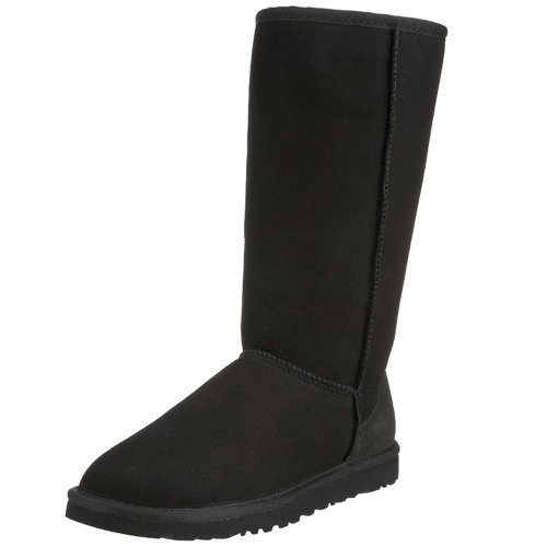 FIVEBEE Classic Twin-Face Sheepskin Tall Snow Boots-Black