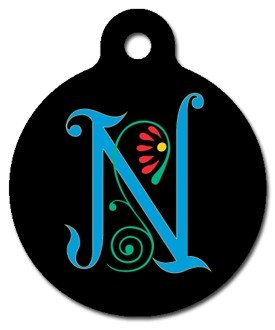 Monogram Letter N Pet ID Tag for Dogs and Cats